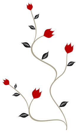 Vector floral pattern - background with branch of red rose Vector