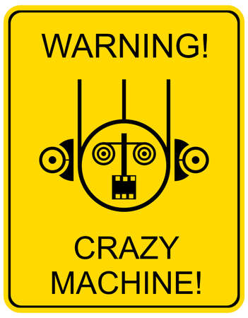 bot: Mad machine - warning sign. Vector stylized icon.