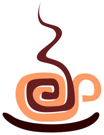 caffee: Vector image of coffee cup, stylized aztec ornament. Isolated.