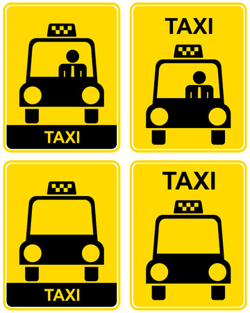 Vector illustration of a yellow road sign - Taxi stand. Illustration