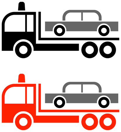 the wrecker: Lorry, specially equipped for towing away cars - traffic sign.