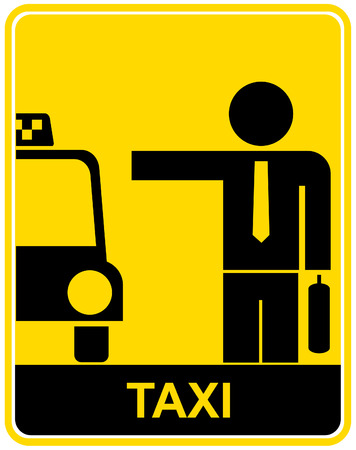 Vector illustration of a yellow road sign - Taxi.
