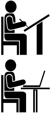 ifade: Vector pictogram - man writes. Sign, icon, symbol. Çizim