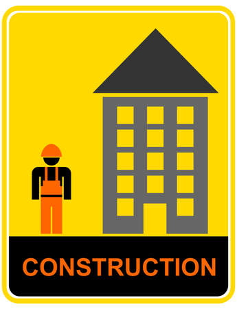 Construction project - vector warning sign, pictogram. Builder dressed in overalls and helmets. Vector