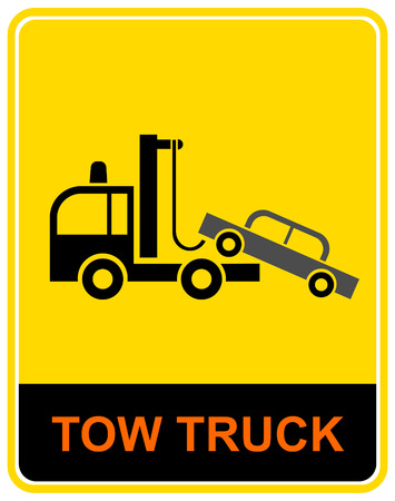 tow: Tow truck. Vector illustration - lorry, specially equipped for towing away cars. Traffic sign.