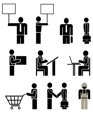 working man: People of different professions - set of stylized vector pictograms. Units. Isolated, icons, design elements. Illustration