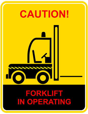 working area: Forklift truck in use - vector warning sign, pictogram, icon.