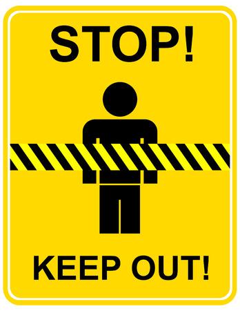 caution sign: Segno cautela Giallo - stop, tenere lontano, non attraversare. Giallo  nero tipo. Vector icon.