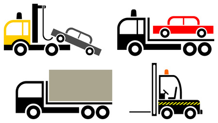 tow: Set of stylized vector icons - trucks and forklift loader. Isolated objects, design elements, pictograms.