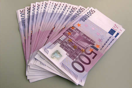 Pack of EURO banknotes on grey background. Money. Stock Photo - 5338127