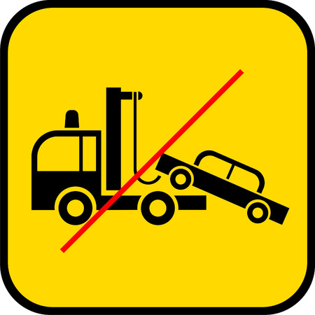 breakage: tow truck use prohibited - vector sign