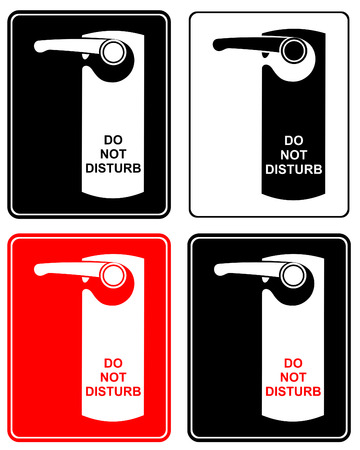 inn: Dont disturb - stylized vector sign. Label on hotel door. Door handle.