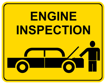 Vektor-Zeichen - Engine-Inspektion. Der Mann steht neben dem Auto. Auto Hood ist geöffnet.