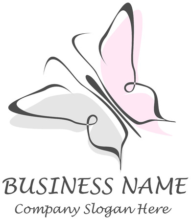 Butterfly - business name sign. Vector illustration, symbol - place for company name and slogan. Vector