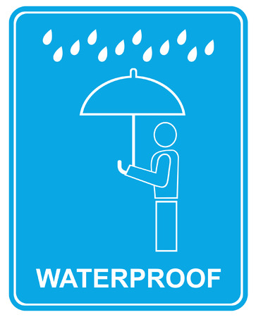 staunch: Water-resisting, water tight - stylized sign, pictogram. Man under an umbrella - vector illustration.