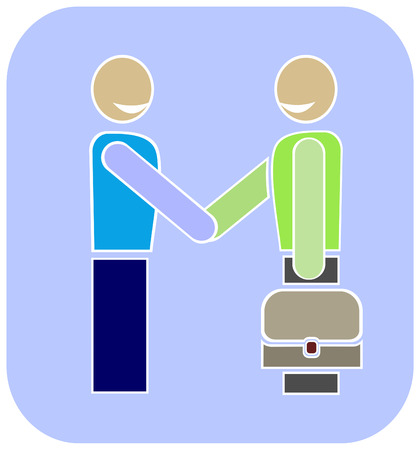 Stylized picture - handshake, agreement. Two funny people shaking hands. Blue background, colorful vector illustration. Stock Vector - 5362108