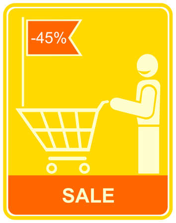 smiling man with a trolley goes to the store to shopping.  Stock Vector - 5362105