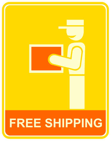 carrying box: Env�o gratis - Se r�e el hombre de uniforme con una caja grande. Icono para la decoraci�n de art�culos de promoci�n. Estilizados funny vector signo.