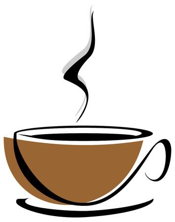Vector gestileerde afbeelding van een koffiekopje.