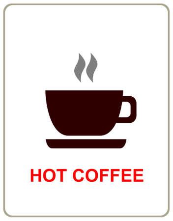hot chocolate drink: Taza de caf� caliente - estilizada signo vector, ilustraci�n, dise�o de elemento. Vectores