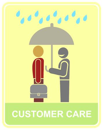 A worker holds an umbrella over the client - customer service icon. Vector stylized color illustration.