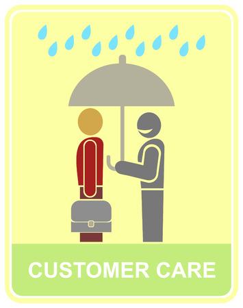 Een werknemer houdt een paraplu boven de client - pictogram klant service. Gestileerde kleur vectorillustratie.
