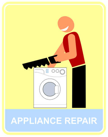Smiling man repairing a washing machine - funny vector illustration. Color icon, design element. Vector
