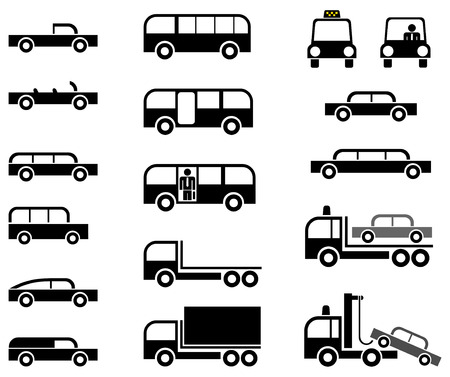 Different types of car body - stylized vector pictograms. Cars, trucks, tow trucks and buses. Vector