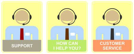 태도: Support - set of colored vector icons for customer service. Illustration of live web support or call center. Smiling man with headset - calling. Light-yellow background.  How can I help you - inscription.