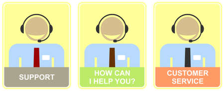Support - set of colored vector icons for customer service. Illustration of live web support or call center. Smiling man with headset - calling. Light-yellow background.  How can I help you - inscription. Vector