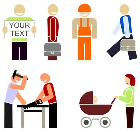 nags: Set de iconos vectoriales de colores - la gente de diferentes profesiones u ocupaciones. Ilustraciones a todo color estilizados, elementos de dise�o. Pictograma multicolor sobre fondo blanco.