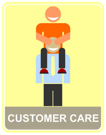 Smiling customer service representative caring the client on his shoulders, helping him out. Piggy-back ride, happy customer. Multicolor vector illustration.  Vector