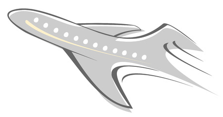 Flying airliner - stylized vector illustration. Grey icon on white background. Isolated design element.