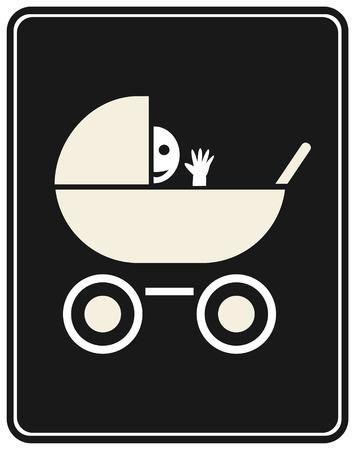 El niño sonriente gracioso pegó su cabeza fuera el cochecito y agitando su mano. Ilustración vectorial estilizada. Imagen blanco sobre fondo gris oscuro o negro.