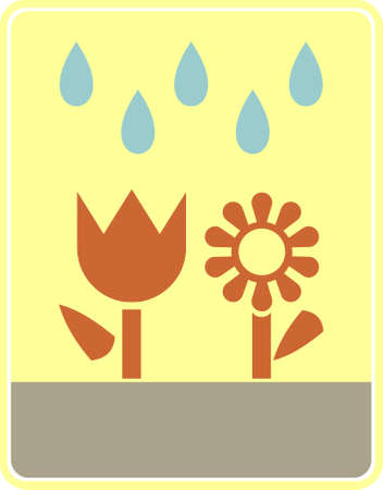 houseplants: Vector stylized icon - houseplants need watering. Vector color illustration. Brown flowers on light yellow background.