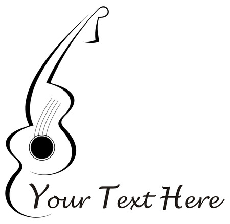 Stylized abstract guitar tattoo - black image on white background. With place for some text. Can be used as company logotype. Stock Vector - 5483260