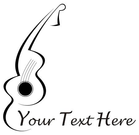 Gestileerde abstracte gitaar tattoo - zwart beeld op witte achtergrond. Met plaats voor wat tekst. Kan gebruikt worden als onderneming logo.