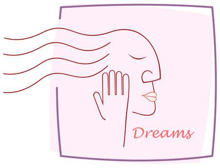 geschlossene augen: Sch�nes l�chelndes Gesicht der Frau liegt mit geschlossenen Augen. Light violettem Hintergrund. Vector illustration, Clip-Art. Illustration