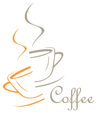 caffee: The cup of coffee divided into two halves - stylized image. Illustration can be used to design menu restaurant or cafe.