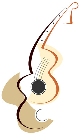 orchestral: Stylized abstract guitar - vector color illustration on white background. Can be used as logotype of your company.