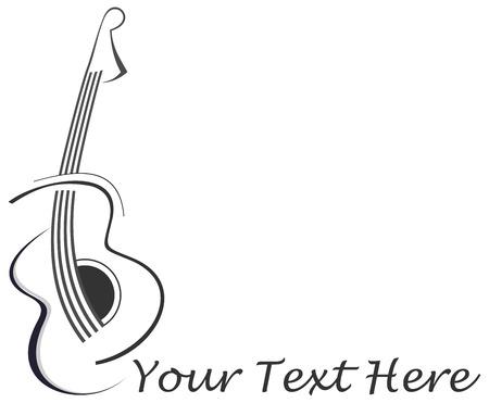 gitara: Stylizowane abstrakcyjny tatuaż na gitarze - czarny obraz na białym tle. Z miejscem na tekst. Może być używany jako logo firmy.