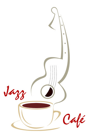 The stylized image of a cup of coffee and guitar. Can be used to design menus cafe or restaurant. Color vector illustration, isolated. Vector