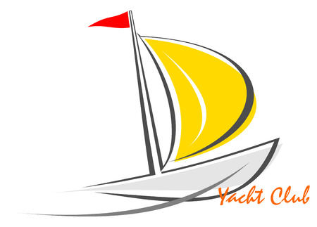 yellow adventure: Sailing boat; sailboat on the water; yacht that sails on the waves. Stylized image of the floating boats with sails and red flag. White background. Can be used as logotype of yacht club, marine club, hotel, etc.