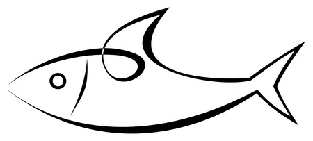 seafish: Vector stylized image of sea-fish on white background. Sea food. Symbol, tattoo, icon.