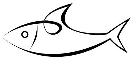 görüntü: Vector stylized image of sea-fish on white background. Sea food. Symbol, tattoo, icon.
