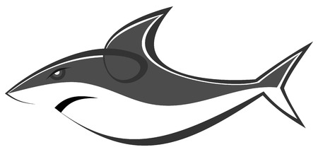 The stylized image of predatory sea sharks. Can be used as a company logotype or as a sketch of a tattoo. Vector illustration on white background. Illustration
