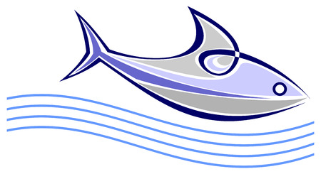 saltwater: Fish floats on the sea waves - stylized vector illustration.