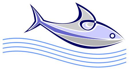 peces de agua salada: Peces talochas sobre las olas del mar - ilustraci�n vectorial estilizados.