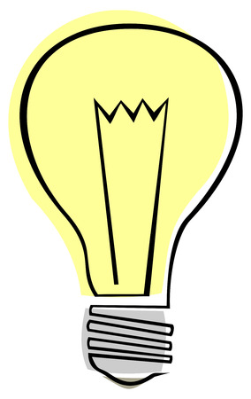 irradiation: Stylized vector image of electric lamp. Bulb - isolated design element. Illustration