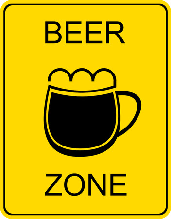 Beer zone - vector stylized sign. Black image on a yellow background. Mug of beer.